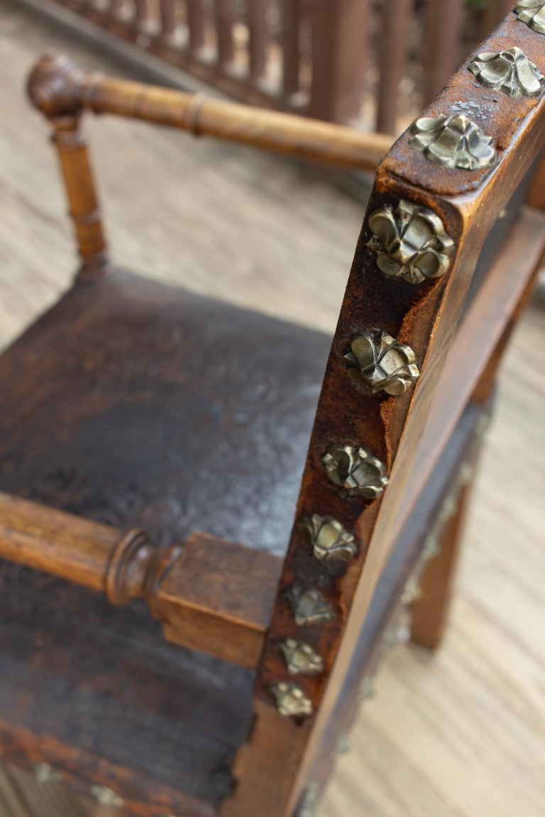 Antique Embossed Italian Leather & Wood Armchair with Studded Brass Detail For Sale 5