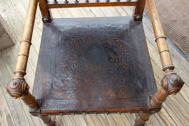 Antique Embossed Italian Leather & Wood Armchair with Studded Brass Detail For Sale 10