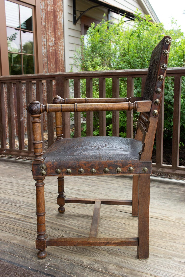 Gothic Antique Embossed Italian Leather & Wood Armchair with Studded Brass Detail For Sale