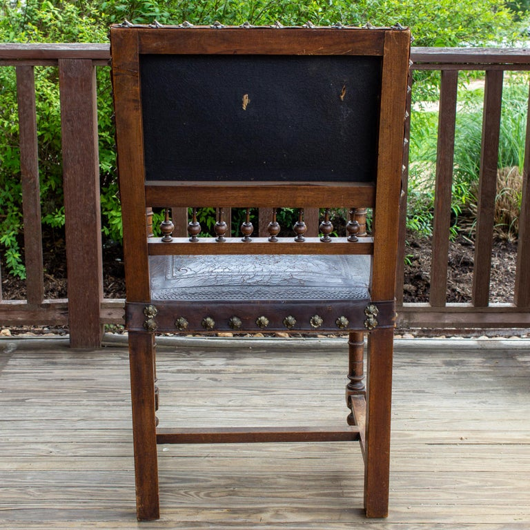 Antique Embossed Italian Leather & Wood Armchair with Studded Brass Detail In Good Condition For Sale In Houston, TX
