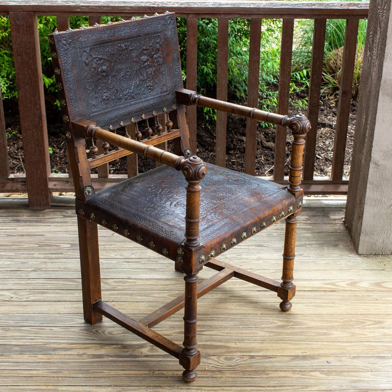 19th Century Antique Embossed Italian Leather & Wood Armchair with Studded Brass Detail For Sale