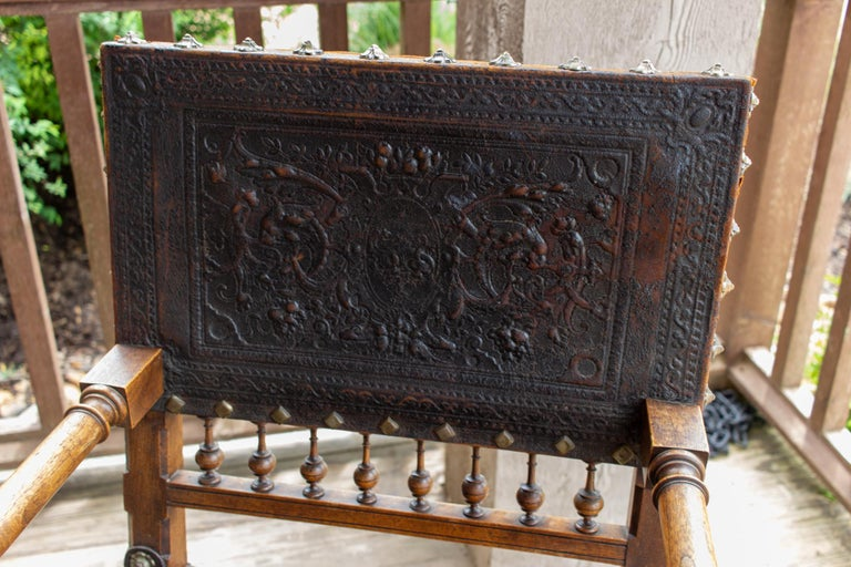 Antique Embossed Italian Leather & Wood Armchair with Studded Brass Detail For Sale 1