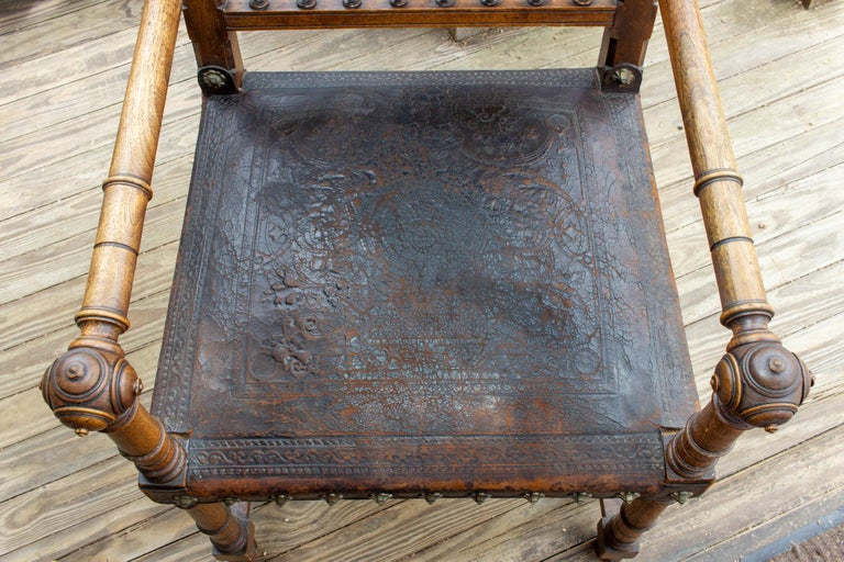 Antique Embossed Italian Leather & Wood Armchair with Studded Brass Detail For Sale 2