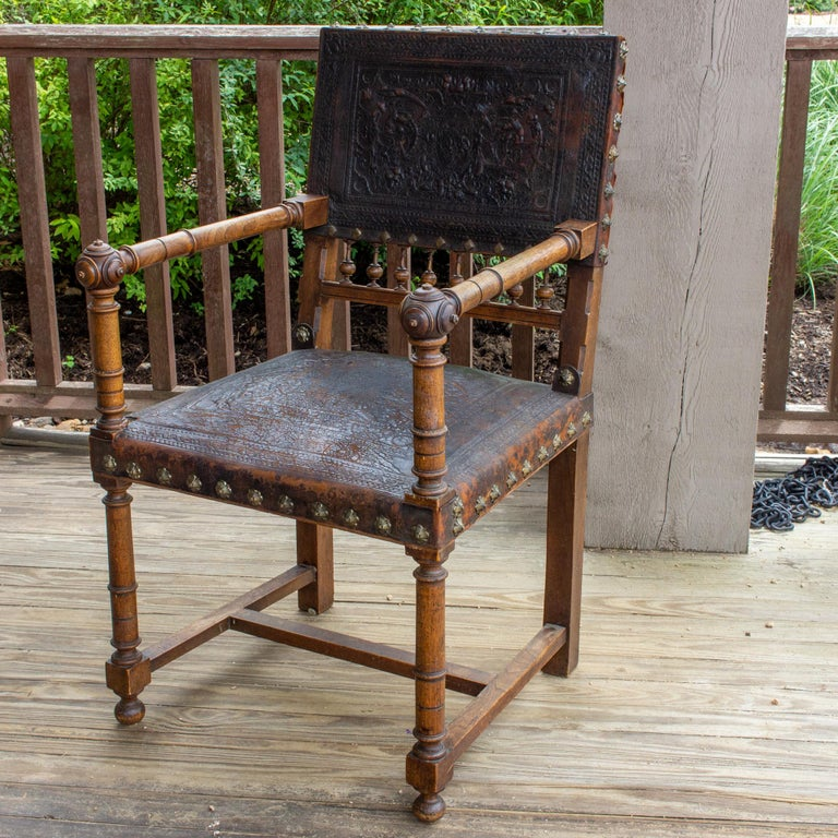 Antique Embossed Italian Leather & Wood Armchair with Studded Brass Detail For Sale 3