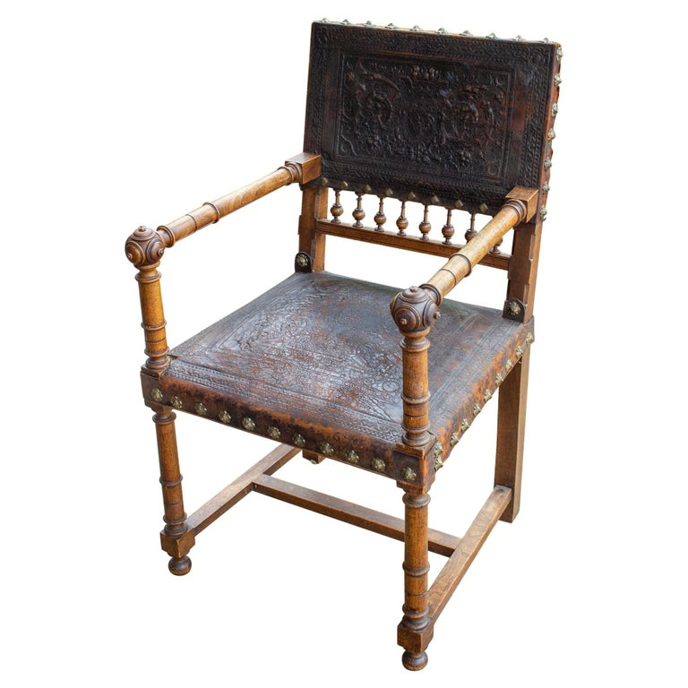 Antique Embossed Italian Leather & Wood Armchair with Studded Brass Detail For Sale