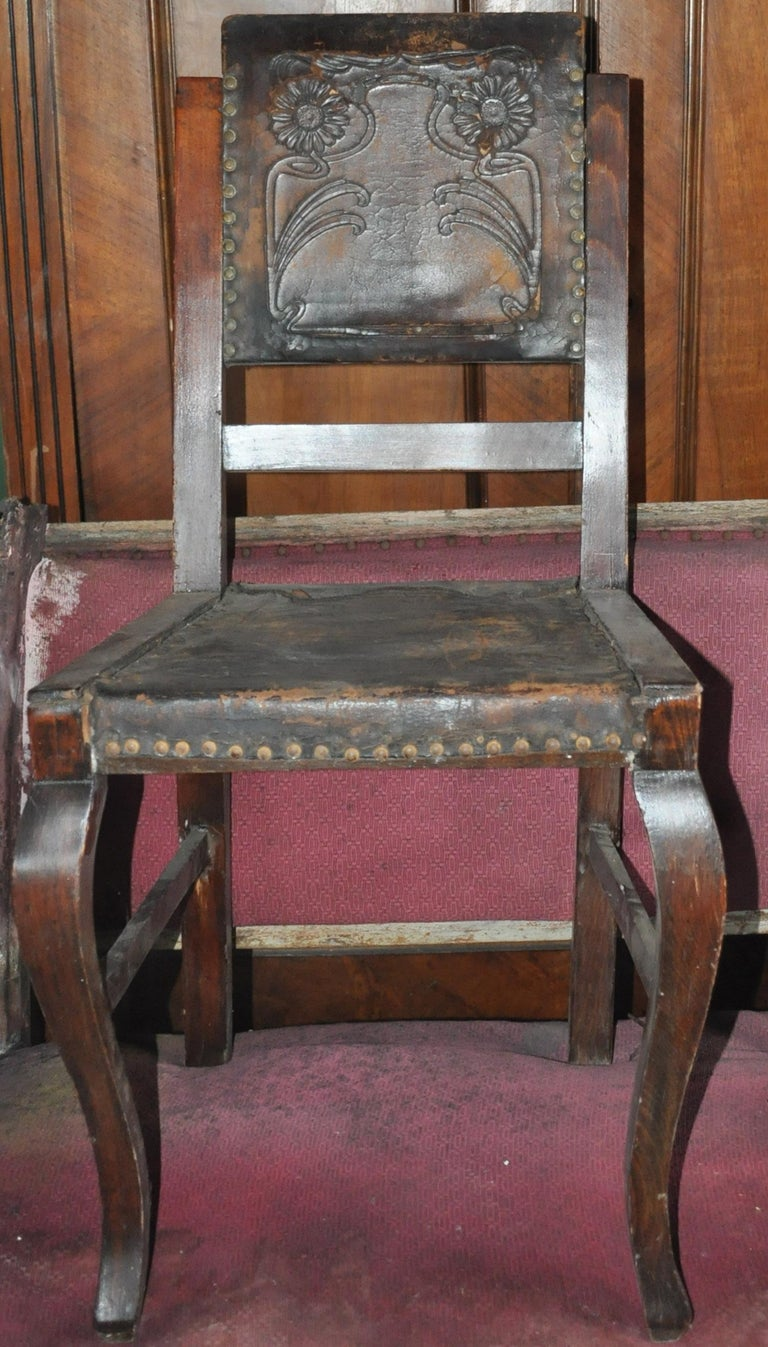 Antique Embossed Leather Dining Chairs, Pair, circa 1900 ...