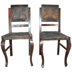 Antique Embossed Leather Dining Chairs, Pair, circa 1900