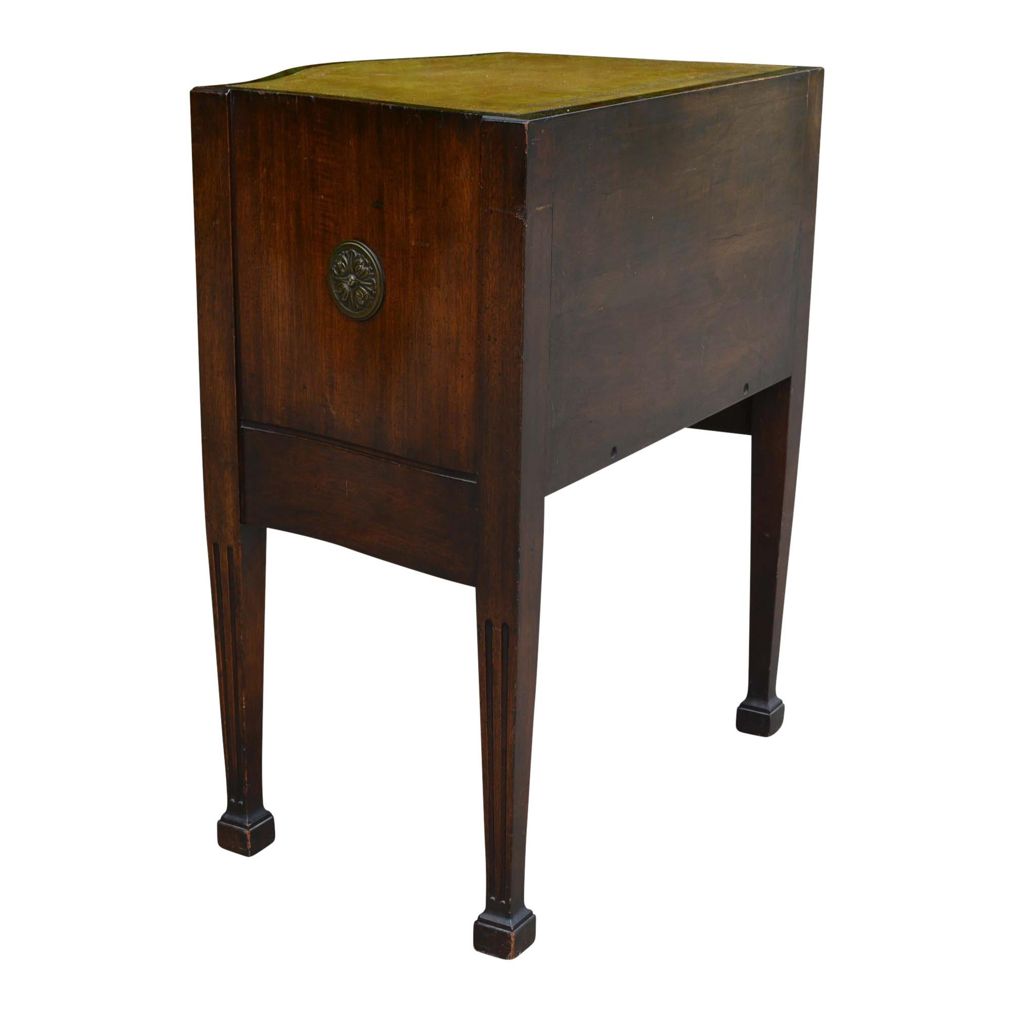 Antique Embossed Leather Top End Table For Sale At 1stdibs