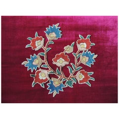 Antique Embroidered Floral Red and Blue Applique Textile #3