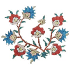 Antique Embroidered Floral Red and Blue Applique Textile