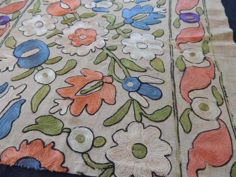 Uzbek Antique Embroidered Floral Silk Suzani Textile Fragment For Sale