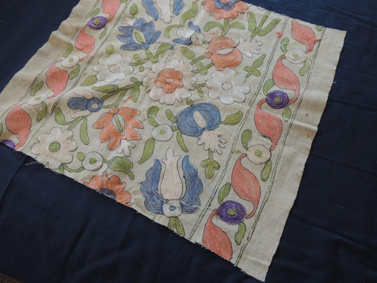 Hand-Crafted Antique Embroidered Floral Silk Suzani Textile Fragment For Sale