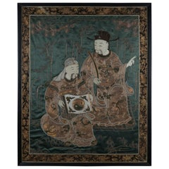 Antique Embroidered Silk Asian Portrait of Wisemen Yin & Yang, Framed