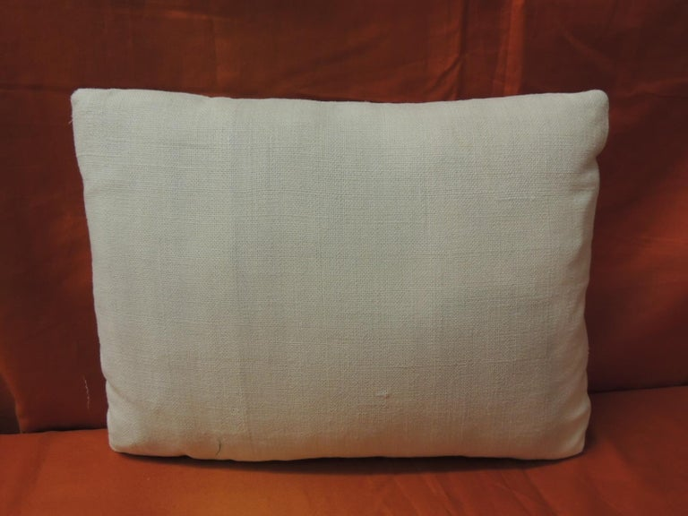 French Provincial Antique Embroidery and Monogram V.C. Petite Lumbar Decorative Pillow For Sale