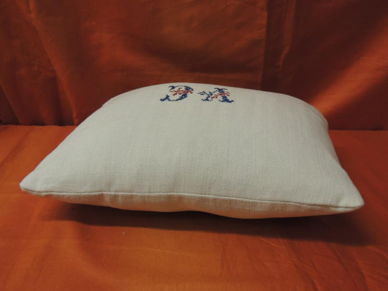 French Antique Embroidery and Monogram V.C. Petite Lumbar Decorative Pillow For Sale