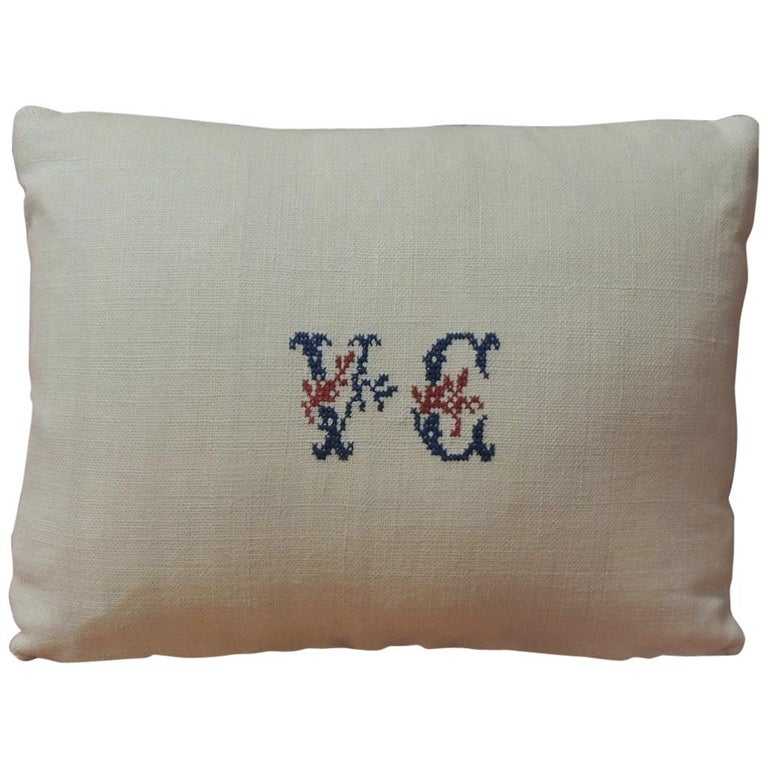 Antique Embroidery and Monogram V.C. Petite Lumbar Decorative Pillow For Sale
