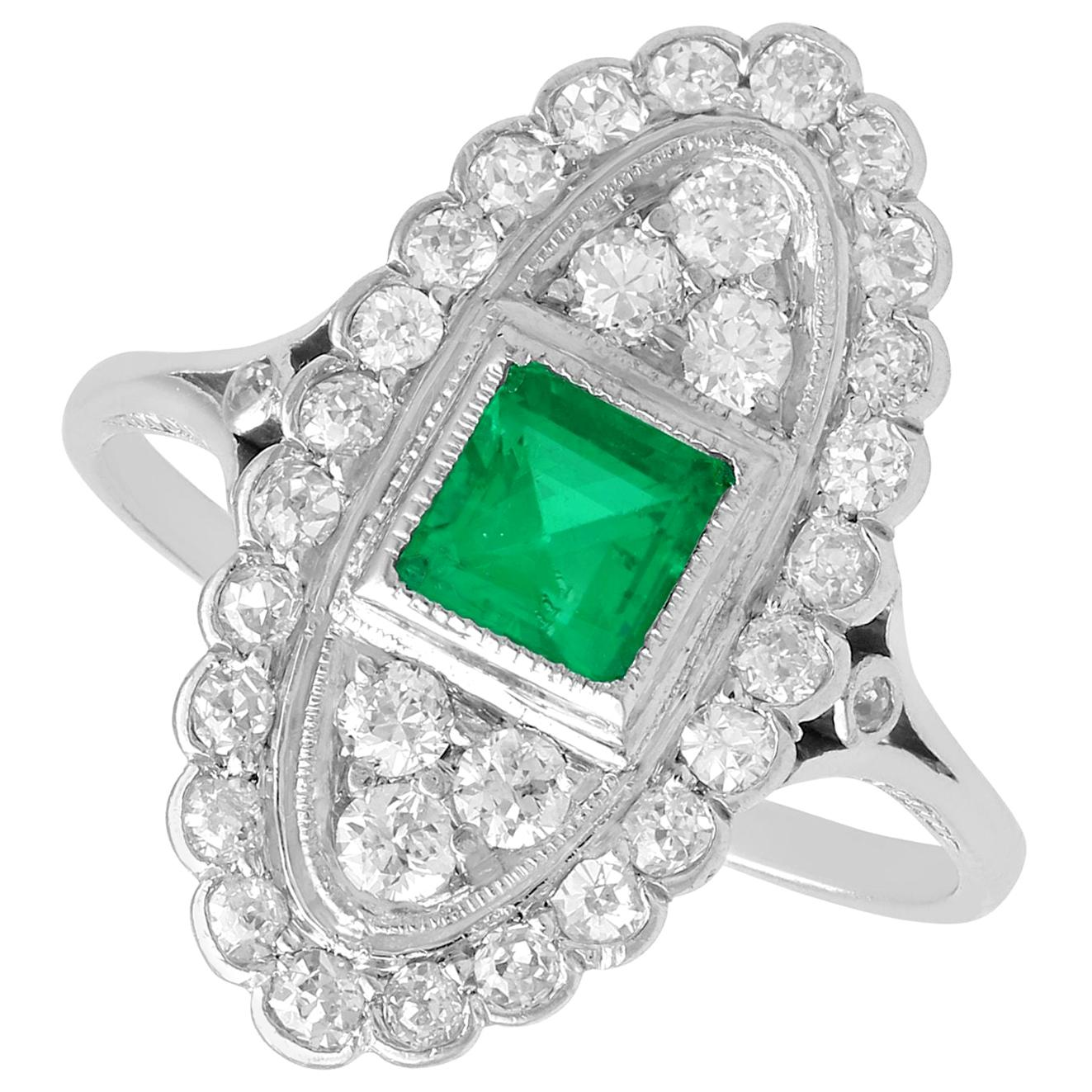 Antique Emerald 1.20 Carat Diamond Platinum Ring