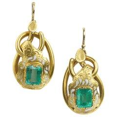 Antique Emerald 1.40ct each Enamel Gold Earrings