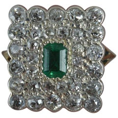 Antique Emerald and 1.5 Carat Old Cut Diamond Panel Cluster Ring