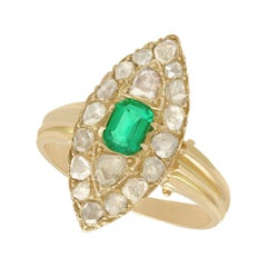 Antique Emerald Cut Emerald and 1.78 Carat Diamond Yellow Gold Marquise Ring