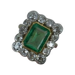 Antique Emerald and 2.00ct Old Cut Diamond 18ct Gold Cluster Ring