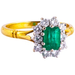 Emerald and Diamond 18 Carat Gold Cluster Ring
