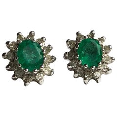 Antique Emerald and Diamond 9 Carat Gold Cluster Stud Earrings