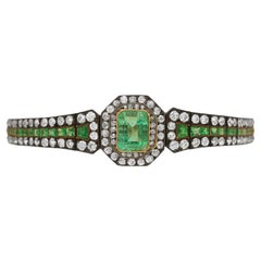 Antique Emerald and Diamond Bracelet, circa 1880