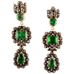 Sylva & Cie Antique Georgian Emerald and Diamond Drop Earrings