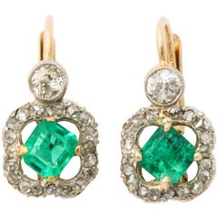 Antique Emerald and Diamond Earrings 18K