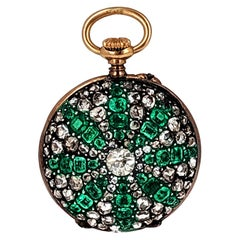 Antique Emerald Diamond Pendant Watch Lecoultre Movement