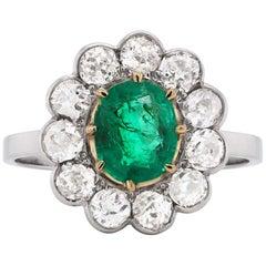 Antique Emerald and Diamond Platinum Coronet Cluster Ring, circa 1920s