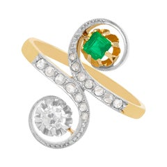 Antique Emerald and Diamond Yellow and White Gold Set Cocktail Ring