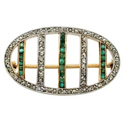 Antique Emerald and Diamond Yellow Gold Brooch