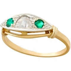 Antique Emerald and Diamond Yellow Gold Cocktail Ring
