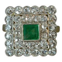 Antique Emerald and Old Cut Diamond Panel Cluster Ring