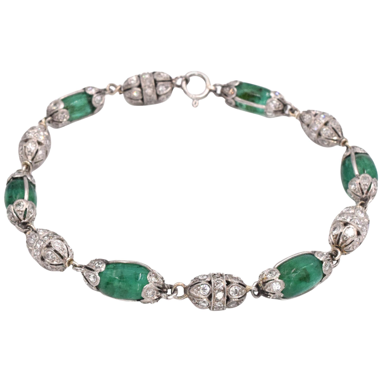 Art Deco Antique Emerald Bead and Diamond Bracelet