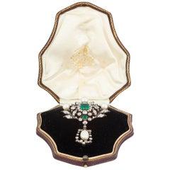 Antique Emerald Diamond and Natural Pearl Pendant Brooch English, circa 1865