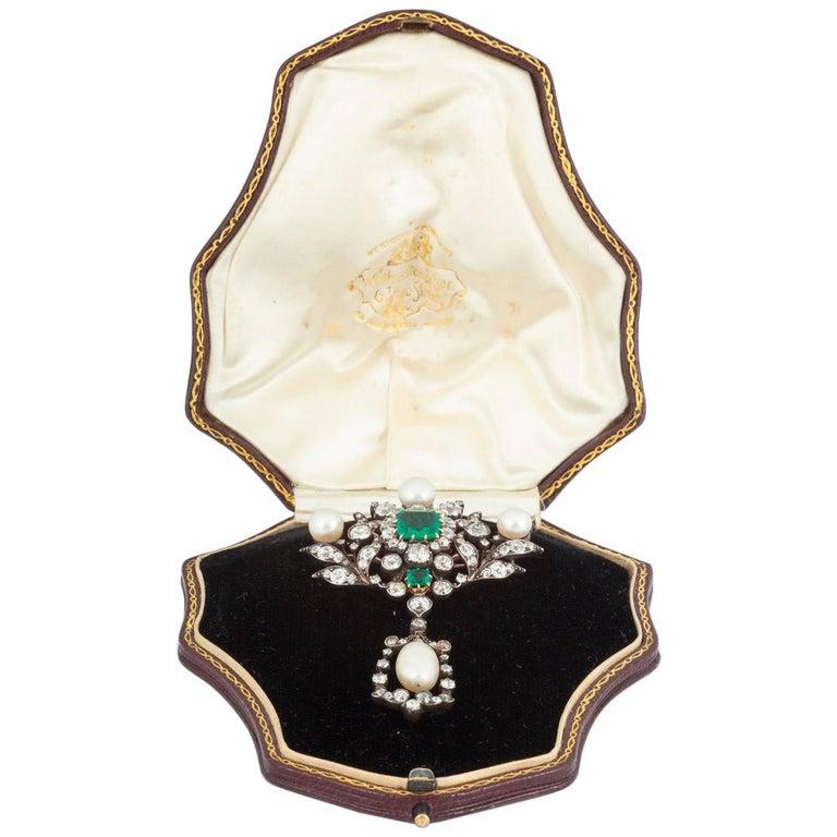 Antique Emerald Diamond and Natural Pearl Pendant Brooch English, circa 1865 For Sale