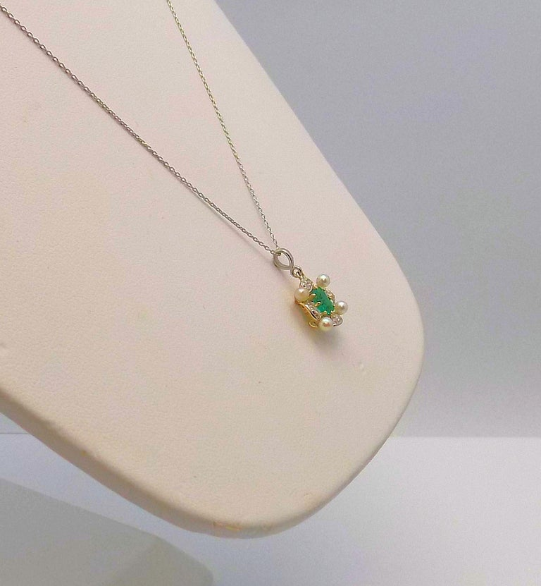 Antique Emerald, Diamond and Seed Pearl Pendant In New Condition For Sale In Dallas, TX