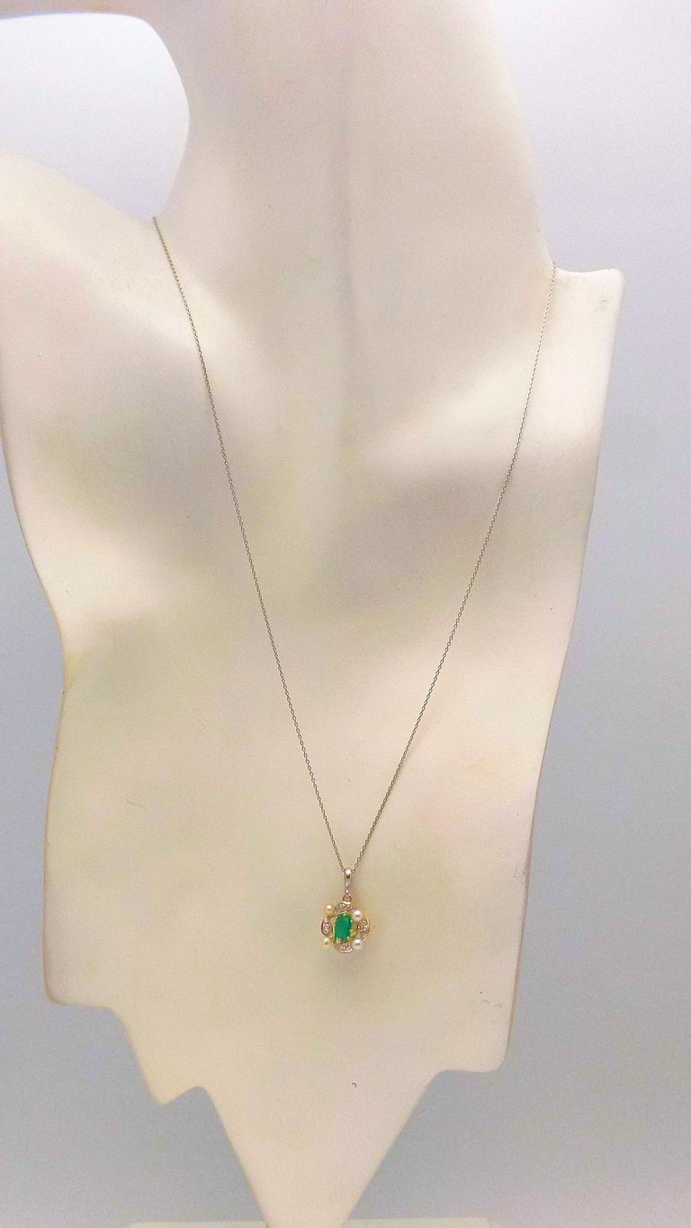 Women's Antique Emerald, Diamond and Seed Pearl Pendant For Sale