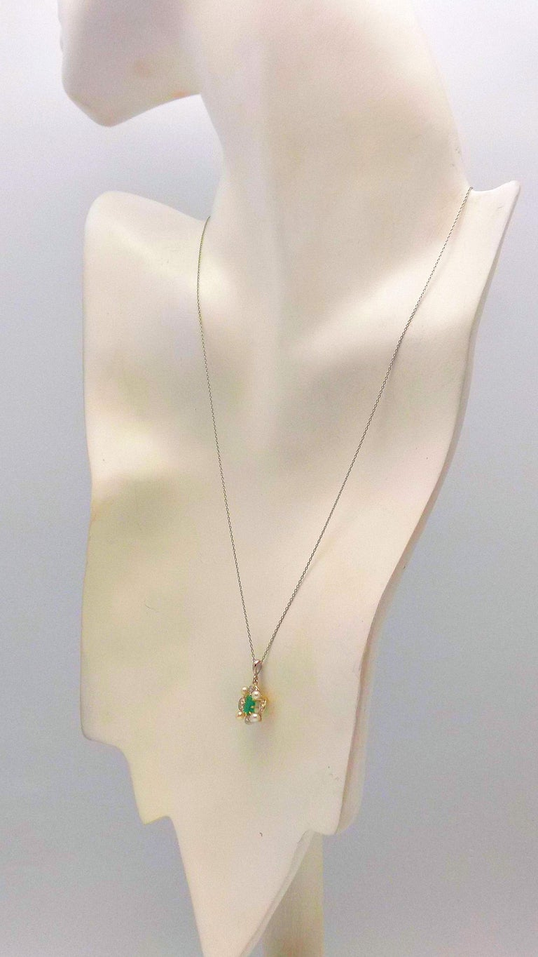 Antique Emerald, Diamond and Seed Pearl Pendant For Sale 2