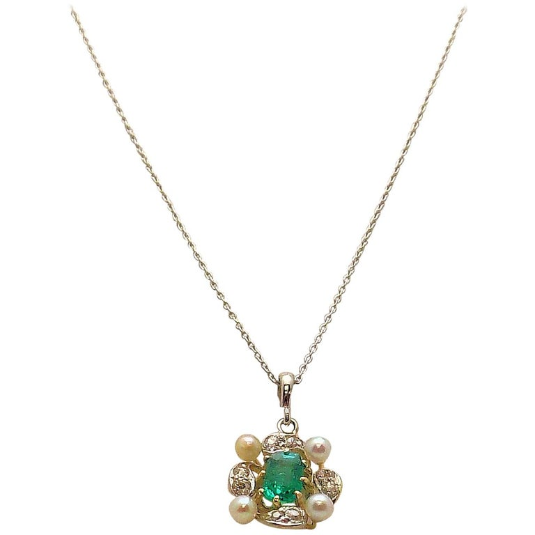 Antique Emerald, Diamond and Seed Pearl Pendant For Sale