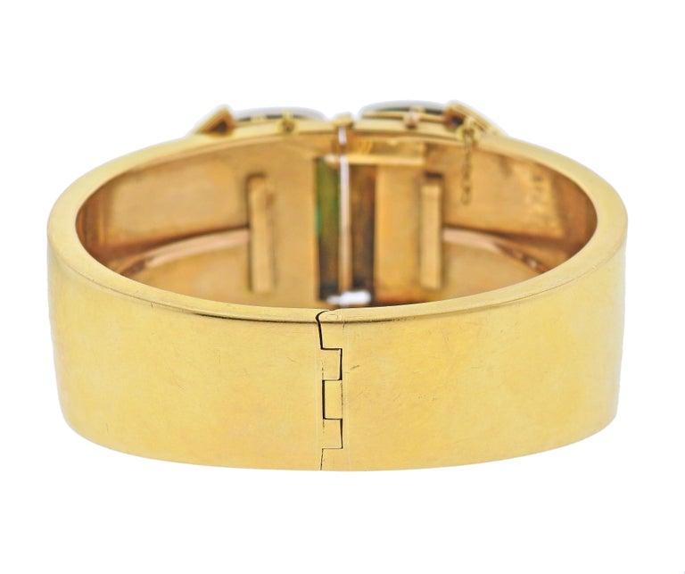 Old Mine Cut Antique Emerald Diamond Gold Bangle Bracelet For Sale