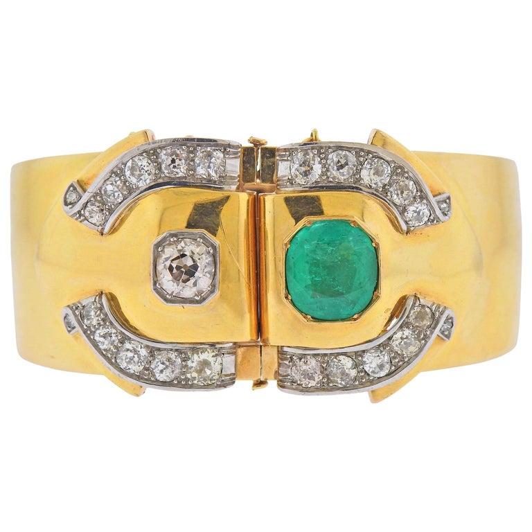 Antique Emerald Diamond Gold Bangle Bracelet For Sale