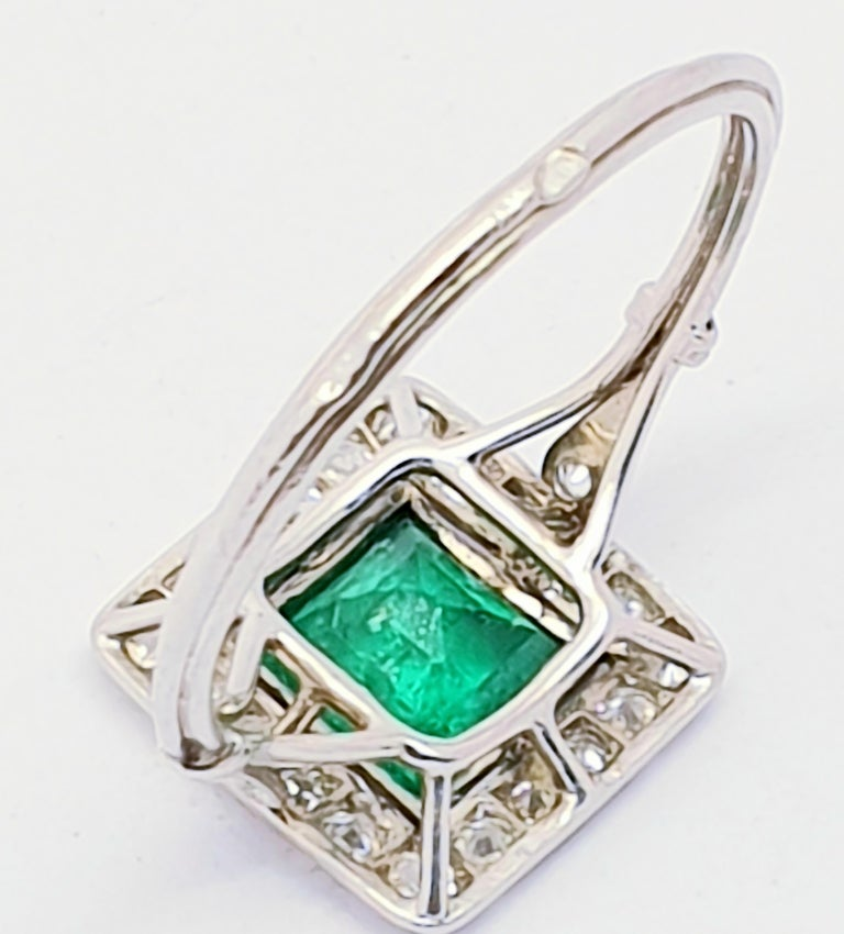 Princess Cut Antique Emerald Diamond Platinum Ring For Sale