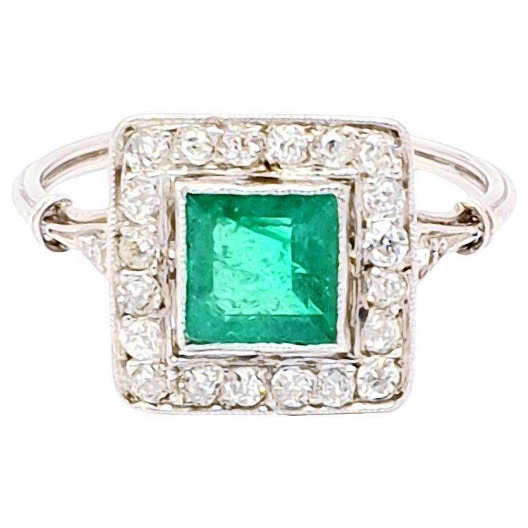 Antique Emerald Diamond Platinum Ring For Sale