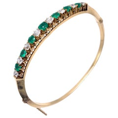 Antique Emerald Diamond Red Gold Bracelet