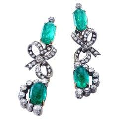 Antique Emerald Diamond Silver and Gold Ear Pendants