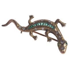 Antique Emerald, Green Garnet and Diamond 15 Carat Gold Salamander Brooch